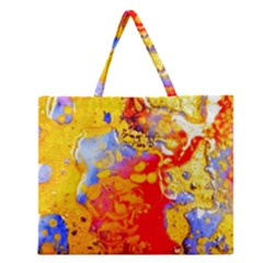 Gold And Red Zipper Large Tote Bag