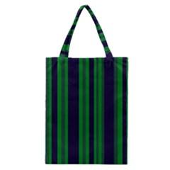 Dark Blue Green Striped Pattern Classic Tote Bag