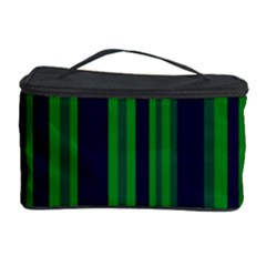 Dark Blue Green Striped Pattern Cosmetic Storage Cases