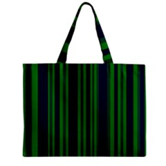 Dark Blue Green Striped Pattern Zipper Mini Tote Bag