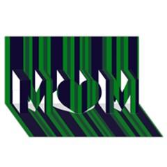 Dark Blue Green Striped Pattern MOM 3D Greeting Card (8x4)