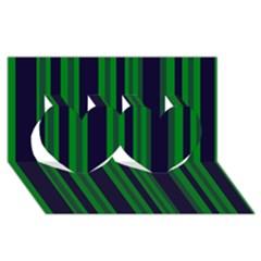 Dark Blue Green Striped Pattern Twin Hearts 3d Greeting Card (8x4)