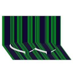 Dark Blue Green Striped Pattern Twin Heart Bottom 3D Greeting Card (8x4)