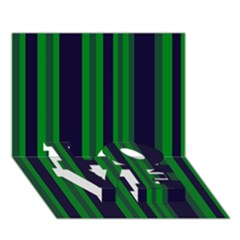 Dark Blue Green Striped Pattern LOVE Bottom 3D Greeting Card (7x5)