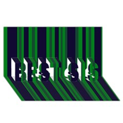 Dark Blue Green Striped Pattern Best Sis 3d Greeting Card (8x4)