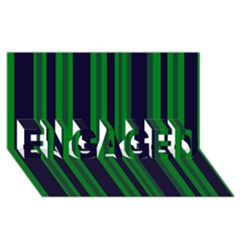 Dark Blue Green Striped Pattern Engaged 3d Greeting Card (8x4)
