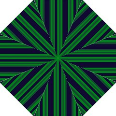 Dark Blue Green Striped Pattern Hook Handle Umbrellas (Medium)