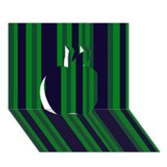 Dark Blue Green Striped Pattern Apple 3d Greeting Card (7x5)