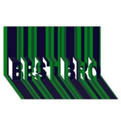 Dark Blue Green Striped Pattern Best Bro 3d Greeting Card (8x4)