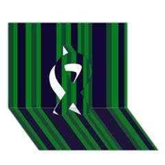 Dark Blue Green Striped Pattern Ribbon 3D Greeting Card (7x5)