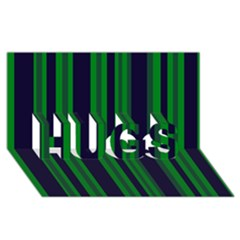 Dark Blue Green Striped Pattern HUGS 3D Greeting Card (8x4)