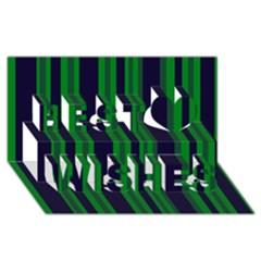 Dark Blue Green Striped Pattern Best Wish 3d Greeting Card (8x4)
