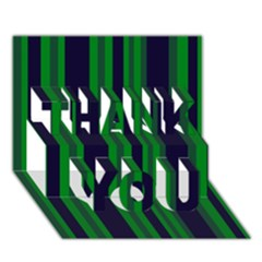 Dark Blue Green Striped Pattern Thank You 3d Greeting Card (7x5)
