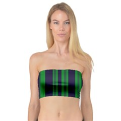Dark Blue Green Striped Pattern Bandeau Top