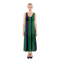 Dark Blue Green Striped Pattern Full Print Maxi Dress