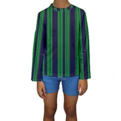 Dark Blue Green Striped Pattern Kid s Long Sleeve Swimwear
