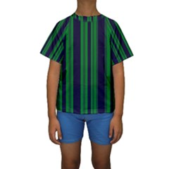Dark Blue Green Striped Pattern Kid s Short Sleeve Swimwear