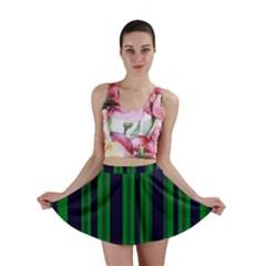 Dark Blue Green Striped Pattern Mini Skirts