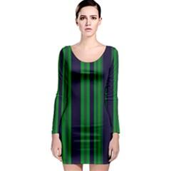 Dark Blue Green Striped Pattern Long Sleeve Bodycon Dress