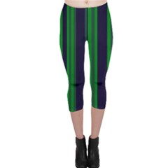 Dark Blue Green Striped Pattern Capri Leggings