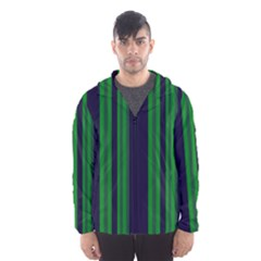 Dark Blue Green Striped Pattern Hooded Wind Breaker (men)