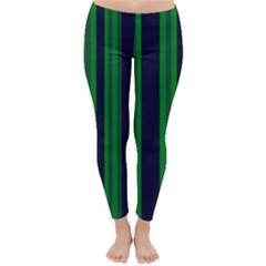 Dark Blue Green Striped Pattern Winter Leggings