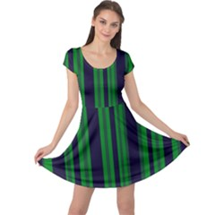 Dark Blue Green Striped Pattern Cap Sleeve Dresses