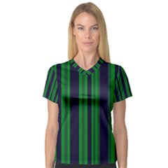 Dark Blue Green Striped Pattern Women s V-Neck Sport Mesh Tee