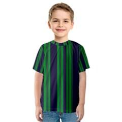 Dark Blue Green Striped Pattern Kid s Sport Mesh Tee