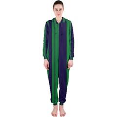 Dark Blue Green Striped Pattern Hooded Jumpsuit (ladies)