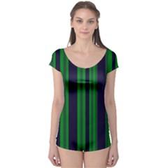 Dark Blue Green Striped Pattern Boyleg Leotard (ladies)