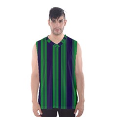 Dark Blue Green Striped Pattern Men s Basketball Tank Top
