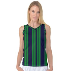 Dark Blue Green Striped Pattern Women s Basketball Tank Top