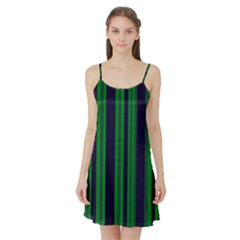 Dark Blue Green Striped Pattern Satin Night Slip