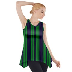 Dark Blue Green Striped Pattern Side Drop Tank Tunic