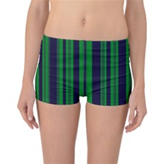 Dark Blue Green Striped Pattern Reversible Boyleg Bikini Bottoms