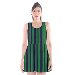 Dark Blue Green Striped Pattern Scoop Neck Skater Dress