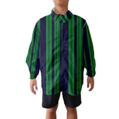 Dark Blue Green Striped Pattern Wind Breaker (kids)