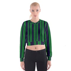 Dark Blue Green Striped Pattern Women s Cropped Sweatshirt