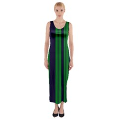 Dark Blue Green Striped Pattern Fitted Maxi Dress