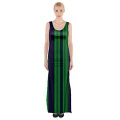 Dark Blue Green Striped Pattern Maxi Thigh Split Dress