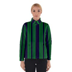 Dark Blue Green Striped Pattern Winterwear