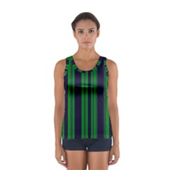 Dark Blue Green Striped Pattern Tops
