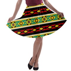 Rhombus chains and other shapes A-line Skater Skirt