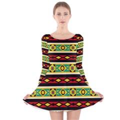 Rhombus chains and other shapes Long Sleeve Velvet Skater Dress