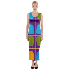 Shapes in squares pattern Fitted Maxi Dress