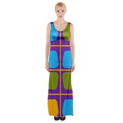 Shapes in squares pattern Maxi Thigh Split Dress