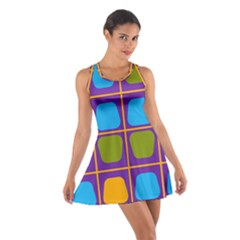 Shapes in squares pattern Cotton Racerback Dress