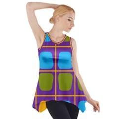 Shapes in squares pattern Side Drop Tank Tunic