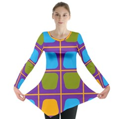 Shapes in squares pattern Long Sleeve Tunic
